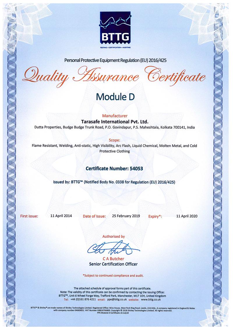 Cat III Certificate Tarasafe